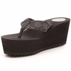 Coach Black Jen Wedge Thong Platform Sandals